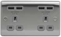 BG Nexus Metal Brushed Steel Double Unswitched Socket USB Grey Inserts NBS24U44G