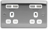 BG Nexus Metal Brushed Steel Double Unswitched Socket USB White Inserts NBS24U44W