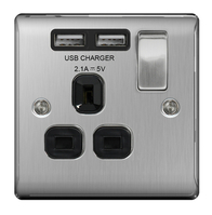BG Nexus Metal Brushed Steel USB  Single Socket Black Inserts NBS21UB