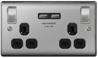 BG Nexus Metal Brushed Steel Double USB Socket Black Inserts NBS22U3B
