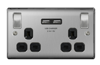 BG Nexus Metal Brushed Steel Double USB Socket Black Inserts NBS22UB
