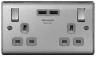 BG Nexus Metal Brushed Steel Double USB Socket Grey Inserts NBS22U3G