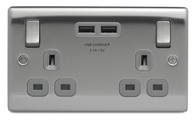 BG Nexus Metal Brushed Steel Double USB Socket Grey Inserts NBS22UG