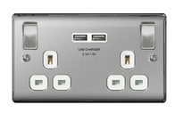 BG Nexus Metal Brushed Steel Double USB Socket White Inserts NBS22UW