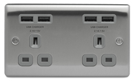 BG Nexus Metal Brushed Steel DoubleUnswitched Socket USB Grey Inserts NBS24U44G