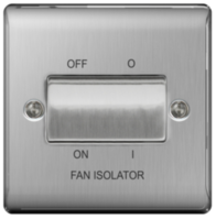 BG Nexus Metal Brushed Steel Fan Isolator Switch NBS15