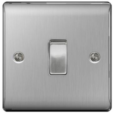 BG Nexus Metal Brushed Steel Light Switch 1G 2W NBS12