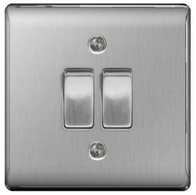 BG Nexus Metal Brushed Steel Light Switch 2W & INT NBS2WINT