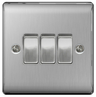 BG Nexus Metal Brushed Steel Light Switch 3G 2W NBS43