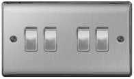 BG Nexus Metal Brushed Steel Light Switch 4G 2W NBS44