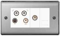 BG Nexus Metal Brushed Steel Quadplex TV/FM/2xSAT & Return & BT Screened Socket NBS69W