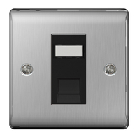 BG Nexus Metal Brushed Steel RJ45 Data Outlet Socket 1G NBSRJ451B