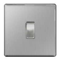 BG Nexus Metal Brushed Steel  Screwless 20A DP Switch FBS30