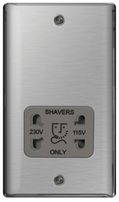 BG Nexus Metal Brushed Steel Shaver Socket Grey Inserts NBS20G