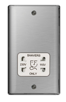 BG Nexus Metal Brushed Steel Shaver Socket White Inserts NBS20W