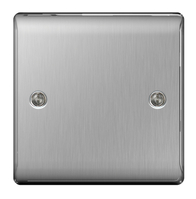 BG Nexus Metal Brushed Steel Single Blank Plate NBS94