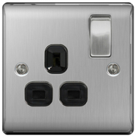 BG Nexus Metal Brushed Steel Single Socket Black Inserts NBS21B