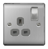 BG Nexus Metal Brushed Steel Single Socket Grey Inserts NBS21G