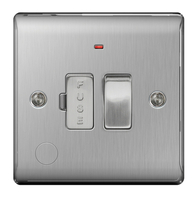 BG Nexus Metal Brushed Steel 13A Switched Spur Neon Flex Outlet NBS53