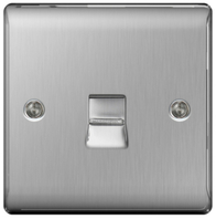 BG Nexus Metal Brushed Steel Telephone Socket Slave NBSBTS1