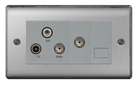 BG Nexus Metal Brushed Steel Triplex TV/FM/SAT & Return & BT Screened Socket NBS68