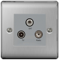 BG Nexus Metal Brushed Steel Triplex TV Socket NBS67