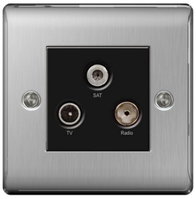 BG Nexus Metal Brushed Steel Triplex TV Socket NBS67B