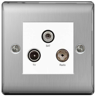 BG Nexus Metal Brushed Steel Triplex TV Socket NBS67W