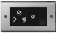 BG Nexus Metal Brushed Steel Triplex TV/FM/SAT & Return & BT Screened Socket NBS68B