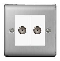 BG Nexus Metal Brushed Steel TV Coax Socket 2G NBS61W