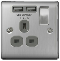 BG Nexus Metal Brushed Steel USB Single Socket Grey Inserts NBS21UG