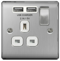 BG Nexus Metal Brushed Steel USB Single Socket White Inserts NBS21UW