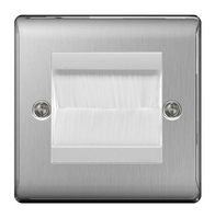 BG Nexus Metal Brushed Steel White Brush Outlet Plate NBSEMS2BRW