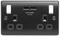 BG Nexus Metal Matt Black Double USB Socket NMB22U3B