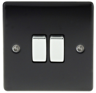 BG Nexus Metal Matt Black Light Switch 2G 2W NMB42