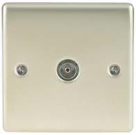 BG Nexus Metal Pearl Nickel Coax TV Socket NPR60