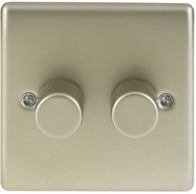 BG Nexus Metal Pearl Nickel Dimmer Switch 2G Halogen/LED NPR82P