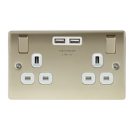 BG Nexus Metal Pearl Nickel Double USB Socket White Inserts NPR22U3W
