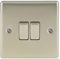 BG Nexus Metal Pearl Nickel Light Switch 2G 2W NPR42