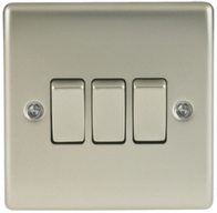BG Nexus Metal Pearl Nickel Light Switch 3G NPR43