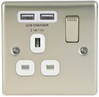 BG Nexus Metal Pearl Nickel USB Single Socket White Inserts NPR21UW