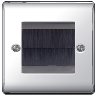 BG Nexus Metal Polished Chrome Brush Outlet Plate NPCEMS2BR