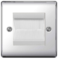 BG Nexus Metal Polished Chrome Brush Outlet Plate NPCEMS2BRW