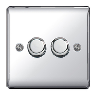 BG Nexus Metal Polished Chrome Dimmer Switch 2G Halogen/LED NPC82P