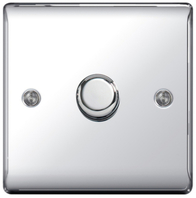 BG Nexus Metal Polished Chrome Dimmer Switch Halogen/LED NPC81P