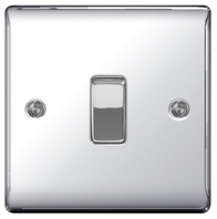 BG Nexus Metal Polished Chrome Light Switch 1G 2W NPC12