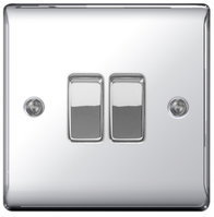 BG Nexus Metal Polished Chrome Light Switch 2G 2W NPC42
