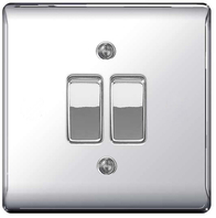 BG Nexus Metal Polished Chrome Light Switch 2W & INT NPC2WINT