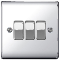 BG Nexus Metal Polished Chrome Light Switch 3G NPC43