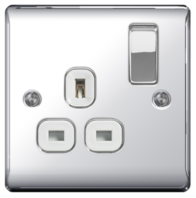 BG Nexus Metal Polished Chrome Single Socket White Insert NPC21W